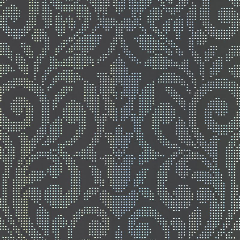 330438 Luxor Black Holographic Damask By Brewster