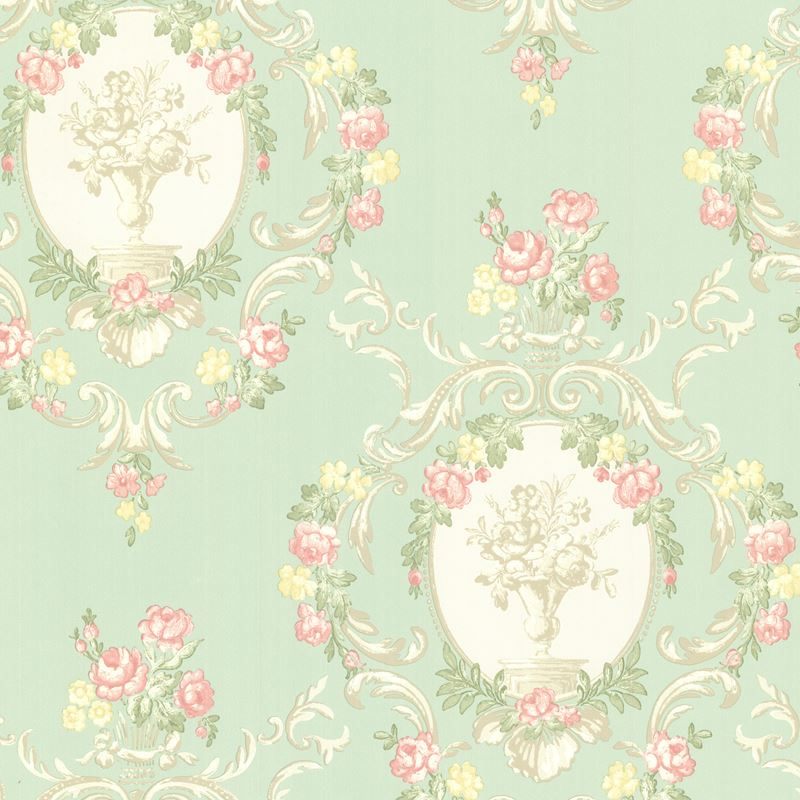 344 68743 Maybelle Mint Cameo Damask By Brewster