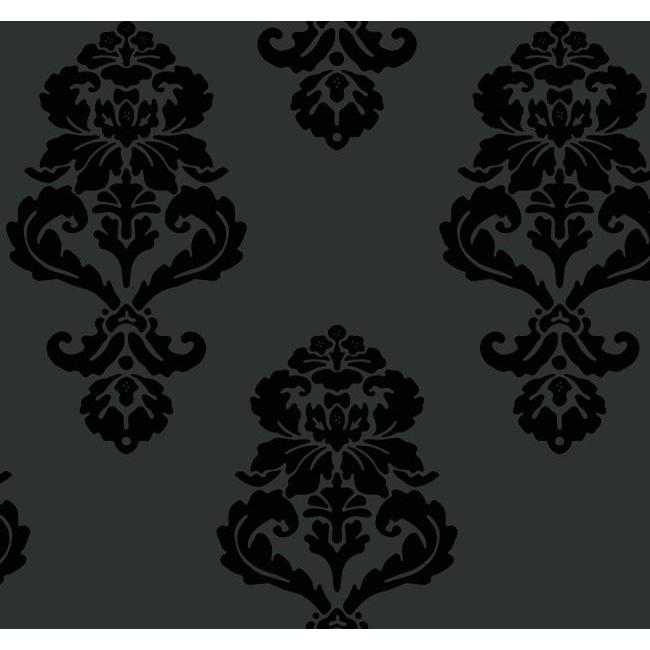 BL0397 Black White Graphic Damask Wallpaper By York