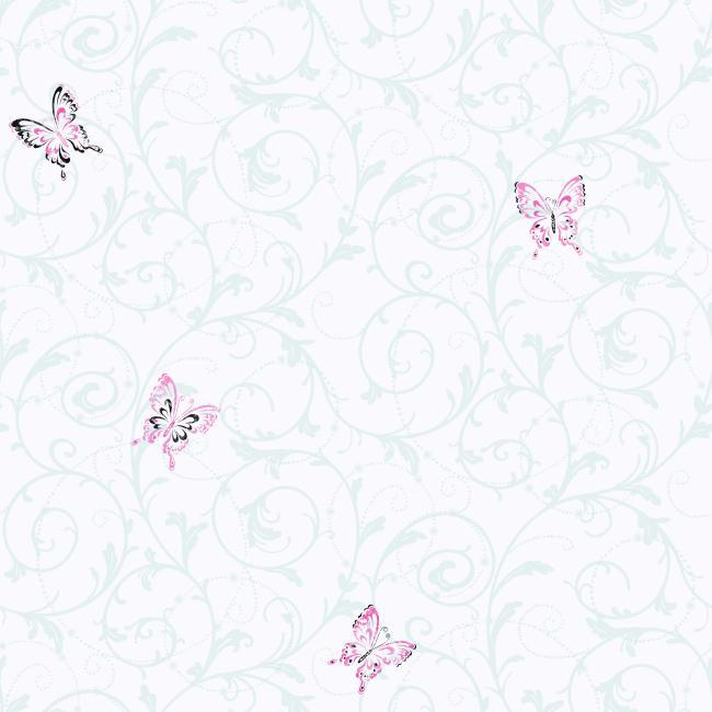 CK7614 Candice Olson Kids Butterfly Scroll Wallpaper By York