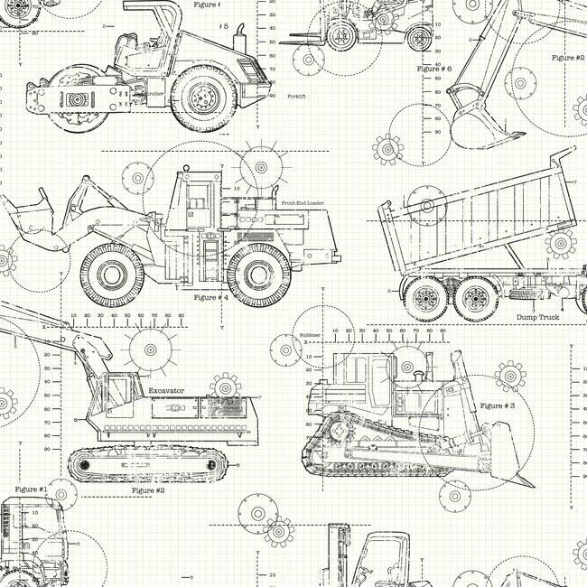 Ks2349 cool kids construction blueprint wallpaper by york malvernweather Image collections