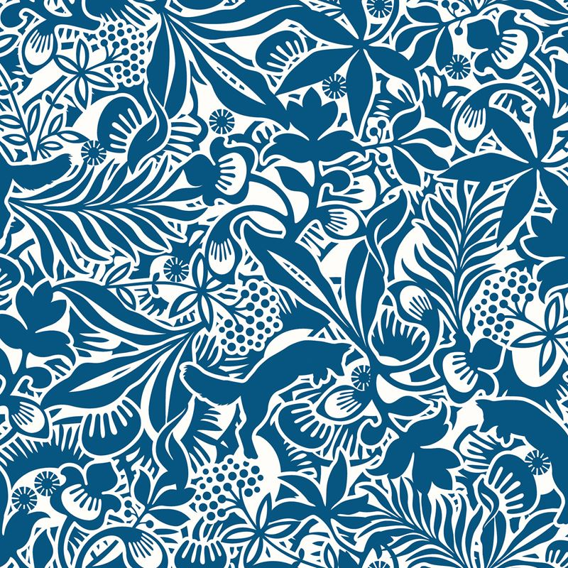 WV1310 Kaia Blue Tropical Leaves By Brewster