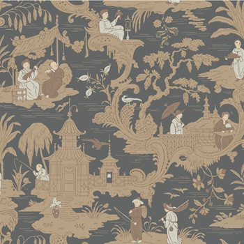 100/8040.CS Chinese Toile Charcoal by Cole & Son