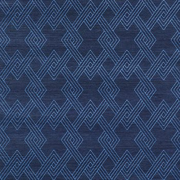 5008970 Hix Embroidered Sisal Blue by Schumacher