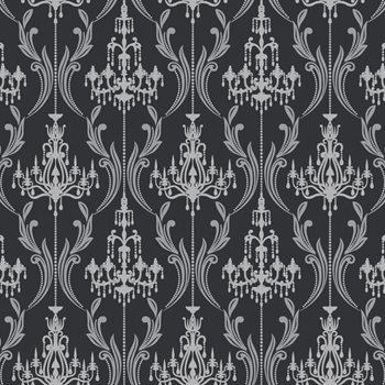 Ab2169 Black White Chandelier Damask Wallpaper By York