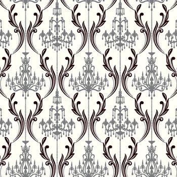 Ab2170 black white chandelier damask wallpaper by york