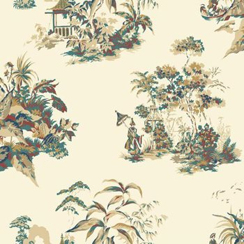 AF1994 Ashford Toiles Oriental Scenic Wallpaper by York