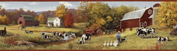 BBC15031B Herman Green Cow Pasture Portrait Border by Brewster
