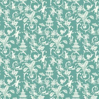 WP2410 Waverly Small Prints Palm Palace Wallpaper by York
