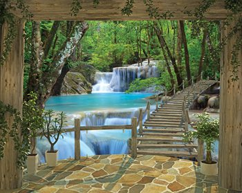 WT43602 Waterfall Wall Mural by Brewster